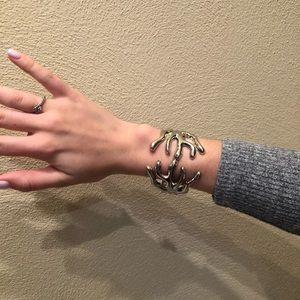 Jewelry - Silver tone hinged bangle, coral shape